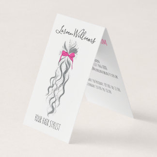 Long wavy hair with a bow  Hairstyling appointment Business Card