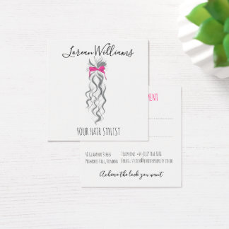 Long wavy hair with a bow  Hairstyling appointment Square Business Card