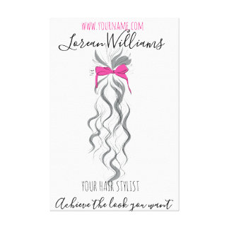 Long wavy hair with a bow  Hairstyling branding Canvas Print