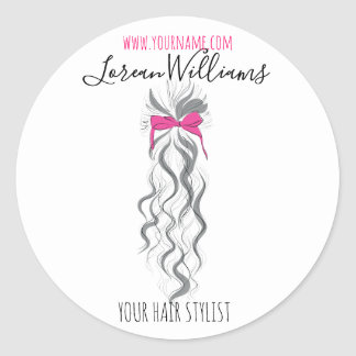 Long wavy hair with a bow  Hairstyling branding Classic Round Sticker