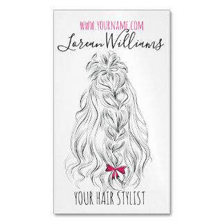 Long wavy hair with a bow  Hairstyling branding Magnetic Business Card