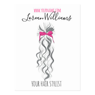 Long wavy hair with a bow  Hairstyling branding Postcard