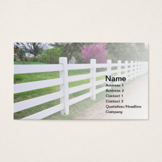 long white wood fence business card