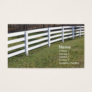 long white wooden post and rail fence business card