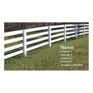 long white wooden post and rail fence pack of standard business cards