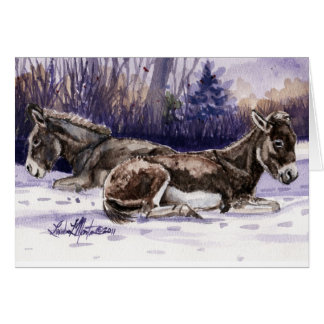Long Winter's Nap Burro Blank Card