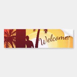 Longboard and palms bumper sticker