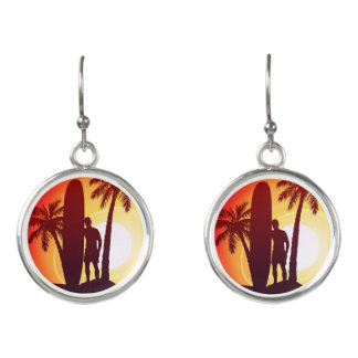 Longboard and palms earrings