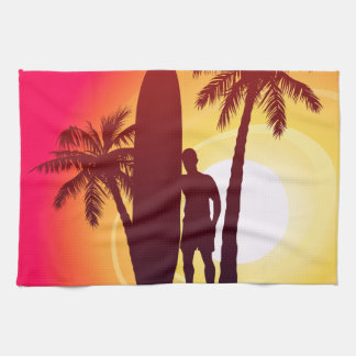 Longboard and palms tea towel