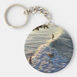 Longboard surfing scenic tropical beach wave key chain