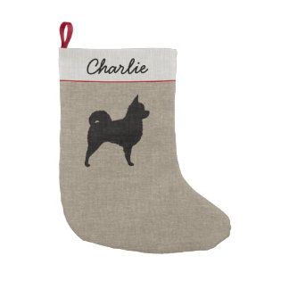 Longhaired Chihuahua Silhouette with Text Small Christmas Stocking