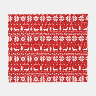 Longhaired Dachshund Silhouettes Christmas Pattern Fleece Blanket