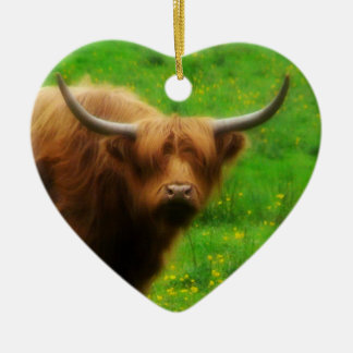 Longhaired LongHorn with Long Horns Ceramic Ornament