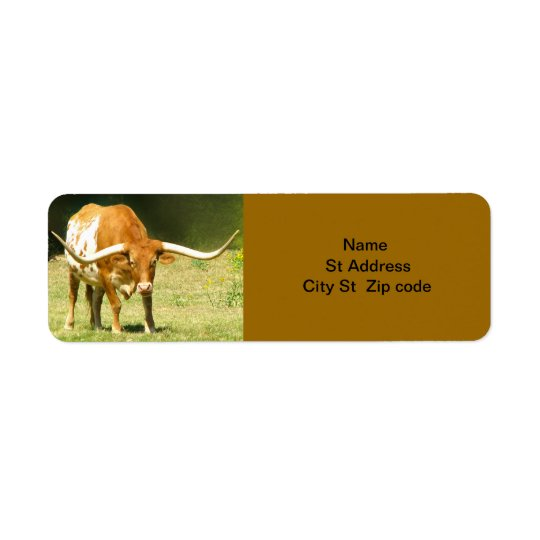Longhorn Cattle Return Address Label. Return Address Label