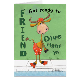 Longhorn Cow Diver Birthday for Friend Card