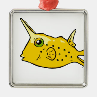 Longhorn Cowfish Metal Ornament