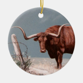 LONGHORNS by DiDi Ceramic Ornament