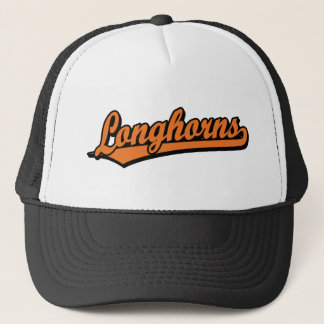 Longhorns  script logo in orange trucker hat