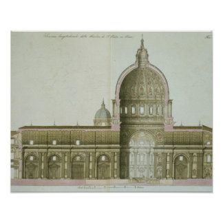 Longitudinal Cross-Section of St. Peter's in Rome, Poster