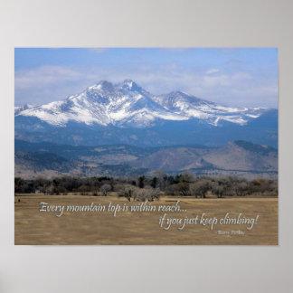 Longs Peak Colorado photo with quote Poster