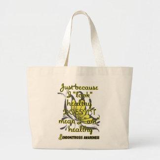 """""""Look"""" healthy/Butterfly...Endometriosis Large Tote Bag"""