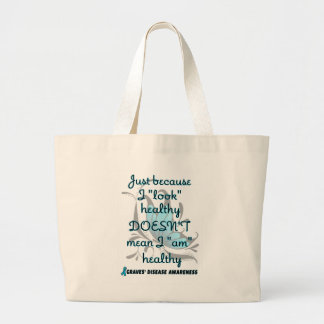 """""""Look"""" healthy/Butterfly...Graves' Large Tote Bag"""