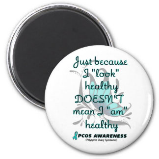 """""""Look"""" healthy/Butterfly...PCOS 6 Cm Round Magnet"""