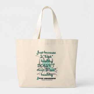 """""""Look"""" healthy/Butterfly...PCOS Large Tote Bag"""