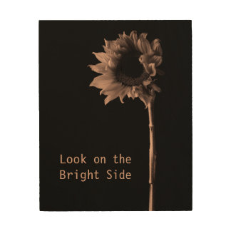 """Look on the Bright Side"" Sunflower Portrait Wood Canvas"