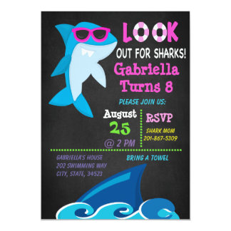 Look Out For Sharks .Girls Pool Party  Invitation