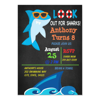 Look Out For Sharks Pool Party Birthday Invitation