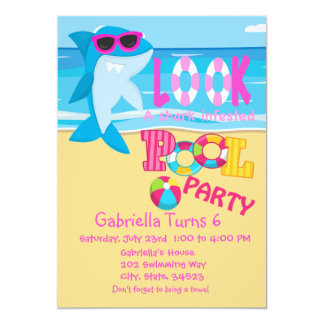Look Out For Sharks...Pool Party Invitation