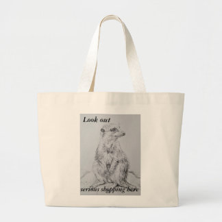 Look out shopping bag with a pencil meerkat