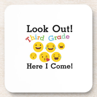 Look Out Third Grade  3rd Emoji Funny Gifts Coaster