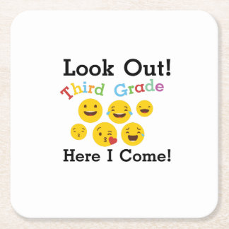 Look Out Third Grade  3rd Emoji Funny Gifts Square Paper Coaster