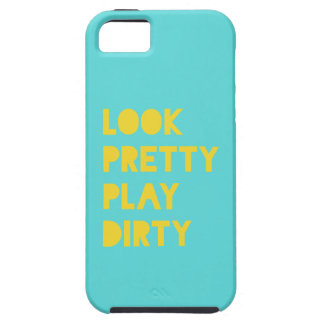 Look Pretty Play Dirty Modern Trendy Quote Teal iPhone 5 Cover