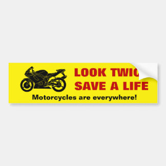 """Look Twice"" Motorcycle Awareness Bumper Sticker"
