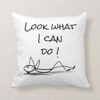 """Look what I can do !"" Lounging stickman pillow"