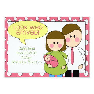 look who arrived - baby girl 13 cm x 18 cm invitation card