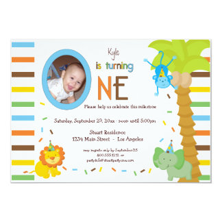 Look Who Is Turning One - Whimsical Animal Theme 13 Cm X 18 Cm Invitation Card