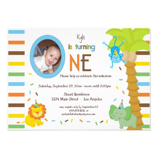 Look Who Is Turning One - Whimsical Animal Theme Custom Invites