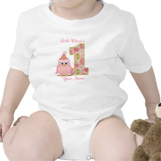 Look Who s 1 Owl Birthday Shirt