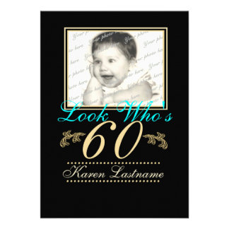 Look Who s 60 Photo Personalized Invitation