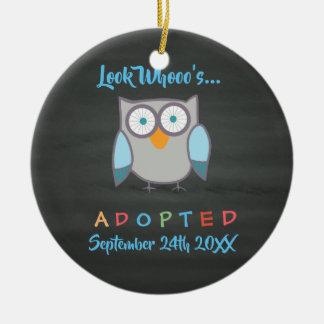 Look Whooo's Adopted Owl Custom Ceramic Ornament