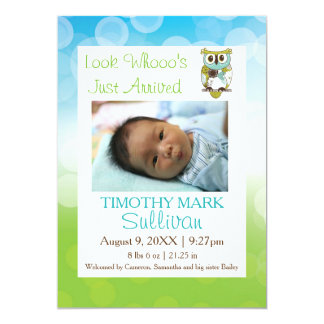 Look Whooo's Just Arrived - Birth Announcement. Card