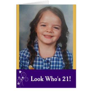 Look Who's 21 Custom Birthday Photo Card