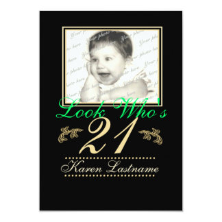 Look Who's 21 Photo 13 Cm X 18 Cm Invitation Card