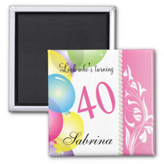 Look Who's 40 | 40th Birthday Square Magnet