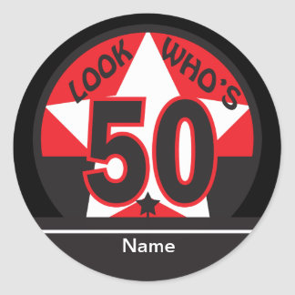 Look Who's 50 | 50th Birthday Round Sticker