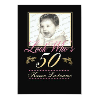 Look Who's 50 Photo 13 Cm X 18 Cm Invitation Card
